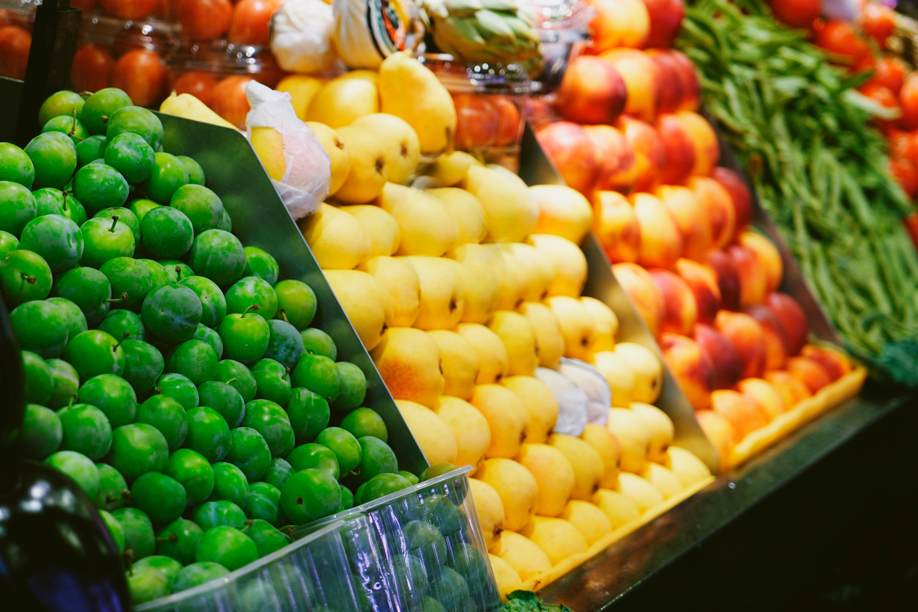 Different fruit and vegetables in a market