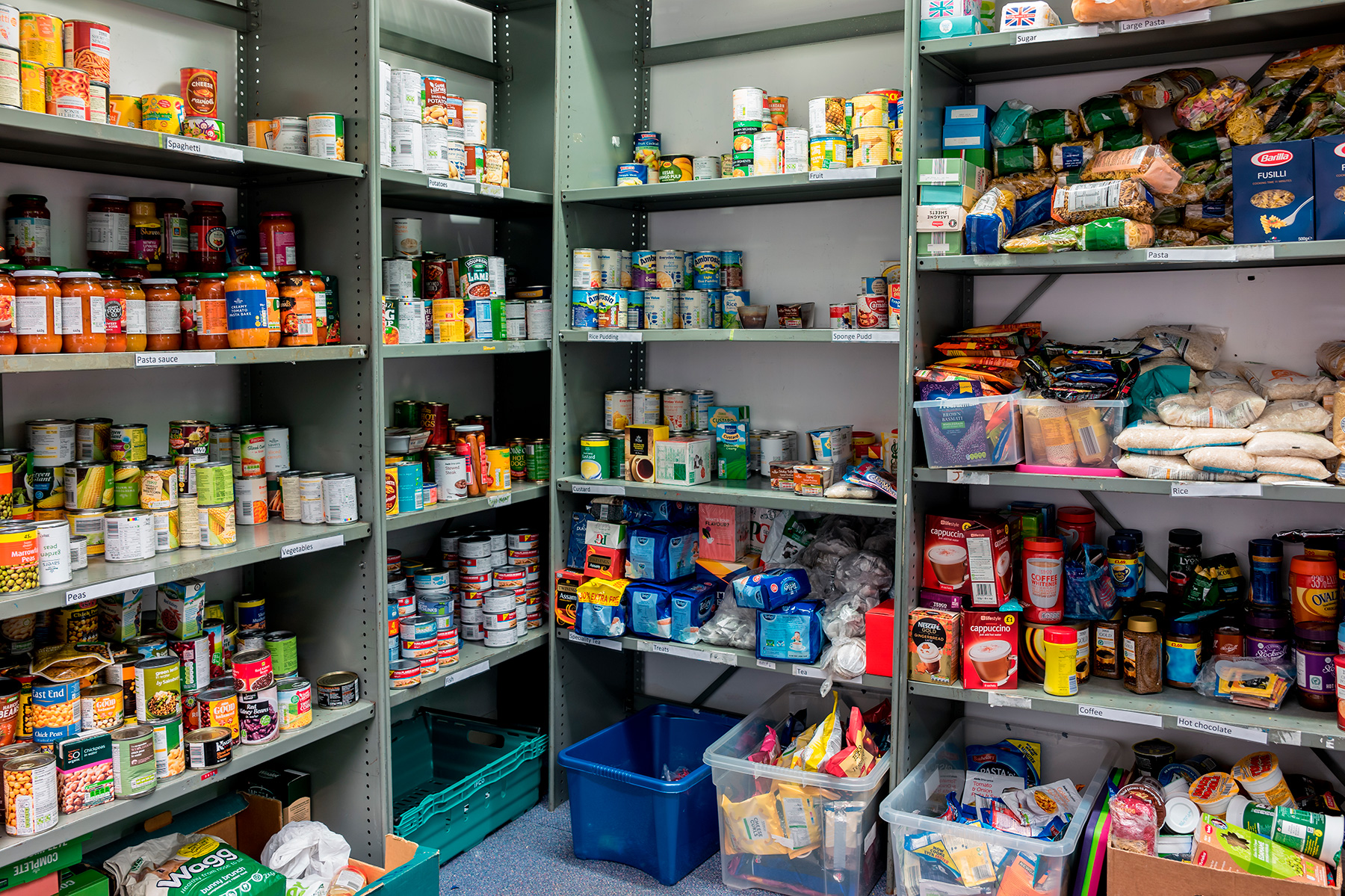Stocked shelves in a food bank