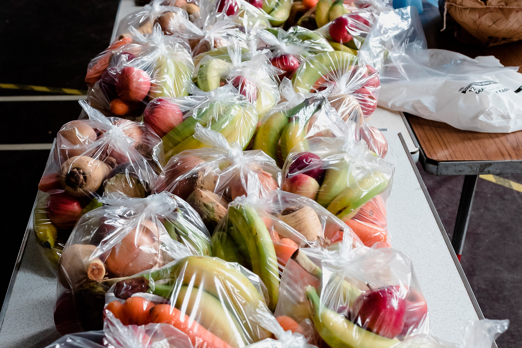Healthy food parcels in bags